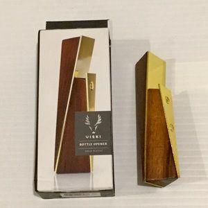 VISKI Ultra Modern Bottle Opener Wood Gold Plated